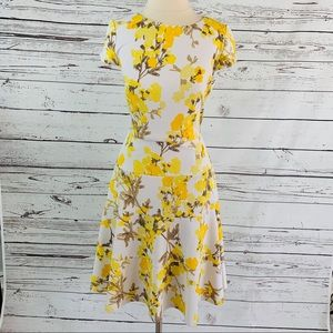 J Howard yellow floral A-Line flare dress